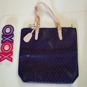 CHARMING CHARLIE purple and nude tote